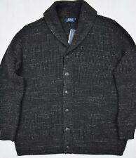 Polo Ralph Lauren Cardigan Sweater Shawl Collar Cotton Charcoal Size XL NWT