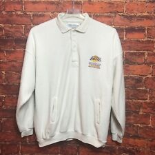 Vtg Los Angeles Lakers NBA Embroidered Qtr Button-Up White Sweater