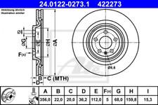 2x Bremsscheibe für Bremsanlage Hinterachse ATE 24.0122-0273.1