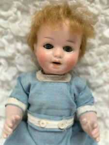 """HERM STEINER 10"""" JOINTED BABY DOLL 1920 BISQUE HEAD COMPOSITION BODY 8/0 RARE"""