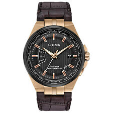 New Citizen Eco-Drive World Perpetual A-T Brown Leather Strap Watch CB0168-08E