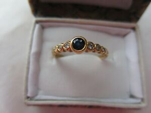 18ct Yellow Gold vintage Sapphire & Diamond ring with Valuation Cert. of 1997
