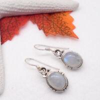 Mondstein weiß blau oval Design Ohrringe Ohrhänger Hänger 925 Sterling Silber