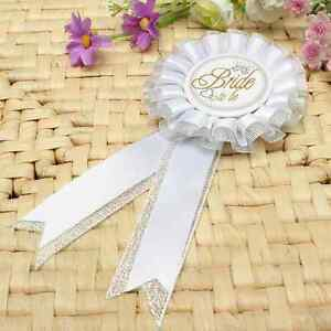 BRIDE TO BE Hen Night Party Do Gift Filler Rosette Badge White & Silver