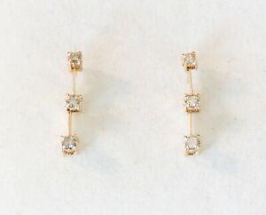 Vintage 10K Yellow Gold Drop Style Pierced Diamond Earrings .12ct TW - Not Scrap
