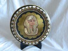 """1 Egyptian Brass Decor Plate King Tut Mask Gold Silver Black Handmade  10"""""""