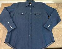 Vintage Wrangler Pearl Snap Men's Denim Western Shirt Size XL/XG