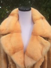 Woman's Orange Apricot Brown Sheared Long Mink Coat w/Belt Size - L