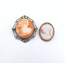 .Pair of Beautiful Vintage Sterling Silver Carnelian & Sardonyx Cameo Brooches