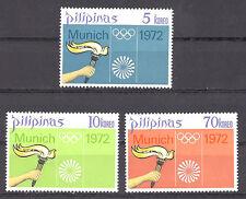 PHILIPPINES, 1972 OLYMPICS, SET OF 3  , PERF, MNH