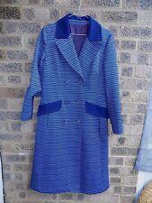 60s vintage navy blue & white stripe crimplene trench coat long mac jacket MOD