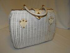 Vintage White Wicker Handbag Purse Mr Jonas Straw Hong Kong Rattan