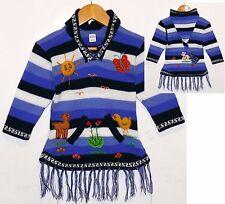 Pullover-Fransen Kleid,blau weiss, Gr.92*98, XXL-Zipfelkapuze,Tiere+Alpaka Peru