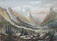 VALLEE DE CHAMOUNIX Chamonix GRAVURE Rouargue Mont Blanc ALPES XIX°
