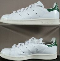 Adidas Stan Smith 2015 Lace Trainers - UK Size 4 - White & Green Leather Womens