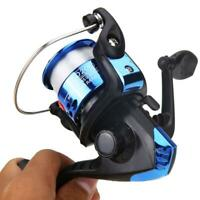 Aluminum Body Spinning Reel 3BB G-Ratio 5.1:1 Fishing Reels Tackle w/ 0.3mm Line