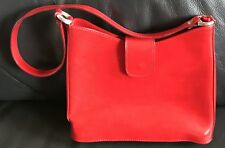 ALEX FIRENZE Raspberry Red Leather Shoulder Handbag Purse Made In Italy.