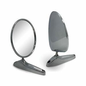 Door Mirror PAIR Guard Vintage Style Chrome Metal Fits Toyota Corolla KE10 KE20
