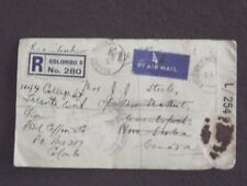 1944 Celyon Registered Airmail Censor Cover With Wax Seal To Canada