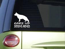 German Shepherd Ears Up Systems Armed *I862* 6x6 inch sticker schutzhund decal