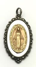 10k Gold Silver 925 Mother of Pearl Marcasite Virgin Mary Religious Pendant