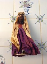 """Vintage Muslim 7"""" tall woman Ethnic Doll on stand."""