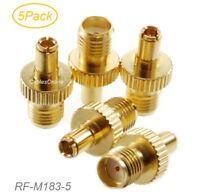 5-Pack TS9 Male Plug to SMA Female Jack Gold-Plated RF Adapter, RF-M183-5