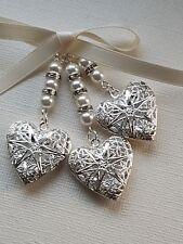 Triple Wedding Bouquet Filigree Silver Heart Locket charm ivory pearls gift bag