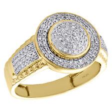 29f24899d803 Declaración de hombre de oro amarillo 10K Diamante Anillo Piny 14.50mm banda  de cúpula Pave 1 4 CT.
