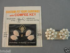 COMFEE KEY ADJUSTING TOOL NO SLIP PADS FAUX PEARL FASHION EARRINGS LOT 2 VINTAGE
