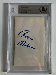 Roger Staubach Dallas Cowboys Signed Autograph Index Card BAS Beckett
