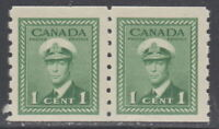 Canada #263 1¢ King George VI War Issue Coil Pair Mint Never Hinged - C