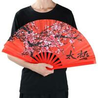 Kung Fu Bamboo Red Plum Fan Tai Chi Training Martial Arts Taiji Dance Fighting
