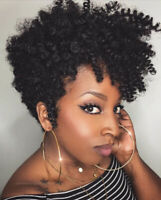 Short Afro Curly Black Wigs Pixie Cut Synthetic Wig for African American Women