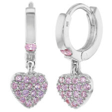 925 Sterling Silver CZ Small Hoop Dangle Heart Baby Girl Kids Earrings