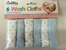Pack Of 6 Blue Soft Baby Face Wash Cloths Towel Flannel Machine Wash 0 Months +