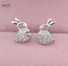 925 Sterling Silver BUNNY RABBIT Cubic Zirconia Stud Ear Earrings gift box L42