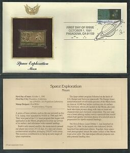 # 2571 SPACE EXPLORATION: MOON 1991 Gold Foil First Day Cover