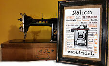 NÄHEN VERBINDET. A4 Poster Druck AnneSvea Sewing Handmade Nähmaschine Deko Print