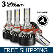 H11+9005 LED Headlights Bulbs Kit Hi or Low Beam 120W 12000LM 6500K White EG12