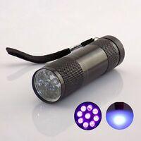 Detection Blacklight Money UV Ultra Violet Torch Light 9 LED Flashlight Lamp