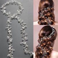 Women Pearls Wedding Hair Vine Crystal Bridal Accessories Diamante Headband DIY