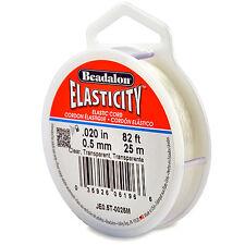 Beadalon Elastic Stretch Beading Cord 0.5Mm Clear 25 Meter Spool Elasticity W9E5