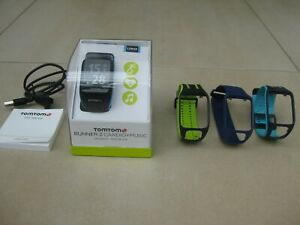 TomTom Runner 2 Cardio + Music + GPS dunkelblau/türkis breit OVP L 4 Armbänder
