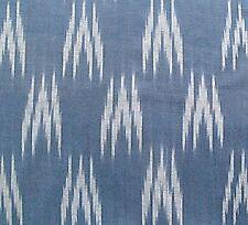 100% Handmade, Cotton Ikat. Blue & White, Homespun Fabric. Handwoven India Khadi