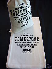 "1 CANVAS (MONEY BAG) DOLLAR $ BANK COIN SACK  -Tombstone Arizona - (9""x17"")"
