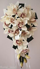 SILK WEDDING BOUQUET CYMBIDIUM ORCHID CREAM LATEX TEARDROP FLOWERS ORCHIDS IVORY
