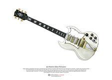 Jimi Hendrix's 1967 Gibson SG Custom ART POSTER A3 size