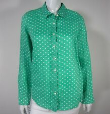 J CREW perfect Linen Long Sleeve Button Down BLOUSE 6 Green White Polka Dot