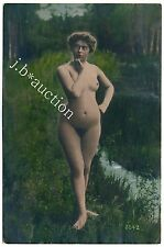NUDE MODEL OUTDOOR / AKT MODELL AM BACH * Rare Vintage Tinted 1900s Photo